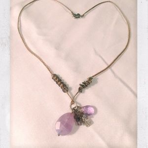 Sterling Silver, Amethyst, Brass, & Corded Necklac